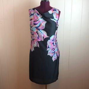 Loft Wide Neck Gauzy Floral Shift Dress